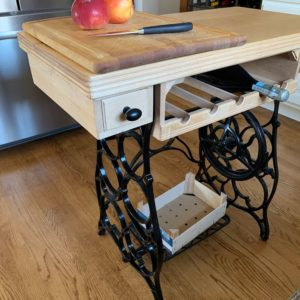 kitchen island wine rack front